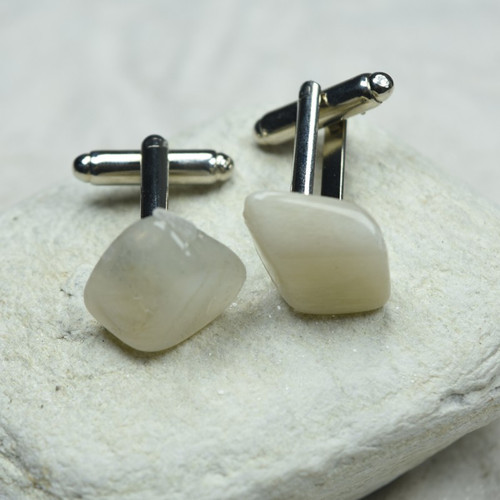 Custom Moonstone Cufflinks Handmade - 1 Set