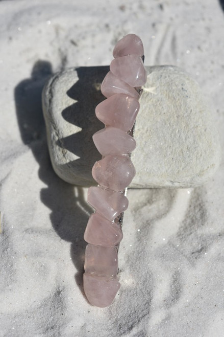 "Rose Quartz Stone French Barrette Hair Clip 4"" or 100 mm Length"