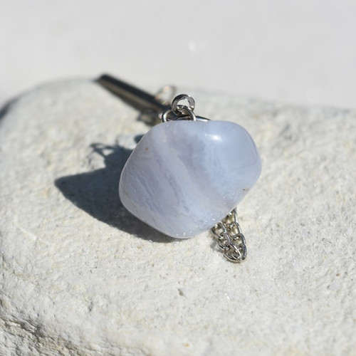 Custom Blue Lace Agate Stone Tie Tack Handmade - Quantity of 1