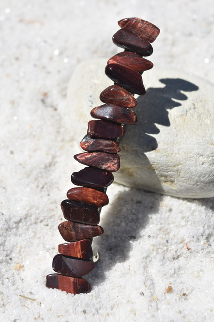 "Red Tiger's Eye Stone French Barrette Hair Clip 4"" or 100 mm Length"