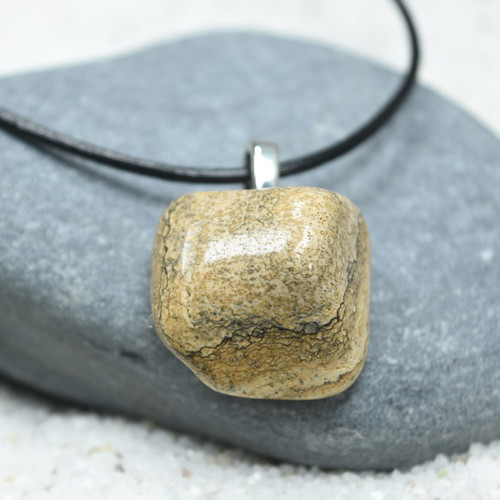 Custom Tumbled Picture Jasper Stone Necklace - Choose Sterling Silver Chain or Leather Cord - Quantity of 1