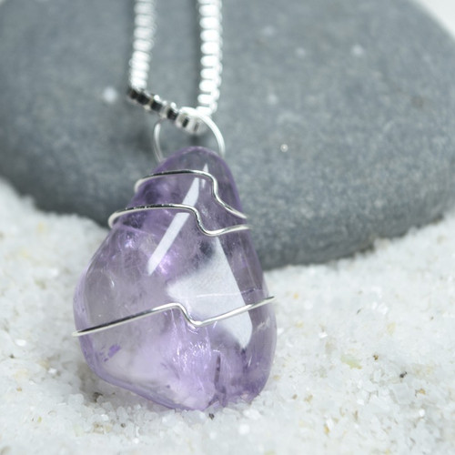 Custom Tumbled Lavender Amethyst Wire Wrapped Stone Necklace - Choose Sterling Silver Chain or Leather Cord - Quantity of 1