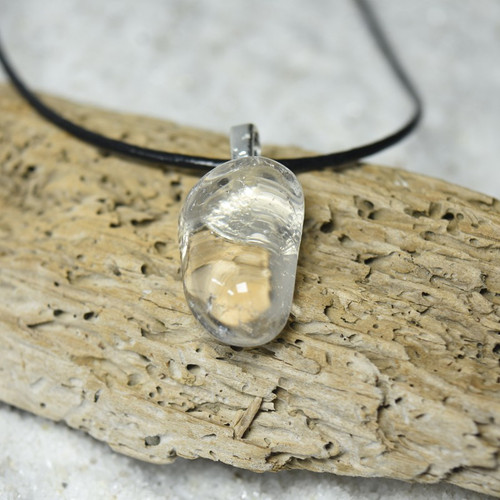 Custom Tumbled Clear Crystal Quartz Stone Necklace - Choose Sterling Silver Chain or Leather Cord - Quantity of 1