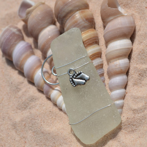 Baby Footprints on Surf Tumbled Sea Glass Ornament Perfect for New Moms - Choose Your Color Sea Glass Frosted, Green, and Brown - Made to Order