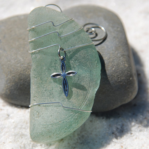 Christian Cross on a Surf Tumbled Sea Glass Ornament - Choose Your Color Sea Glass Frosted,  Green, and Brown - Made to Order