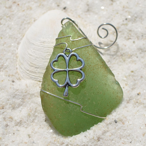 Shamrock on a Surf Tumbled Sea Glass Ornament - Choose Your Color Sea Glass Frosted, Green, and Brown - Made to Order