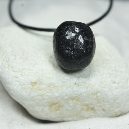 Custom Tumbled Tourmaline Stone Necklace - Choose Sterling Silver Chain or Leather Cord - Quantity of 1