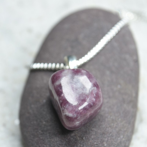 Custom Tumbled Lepidolite Stone Necklace - Choose Sterling Silver Chain or Leather Cord - Quantity of 1