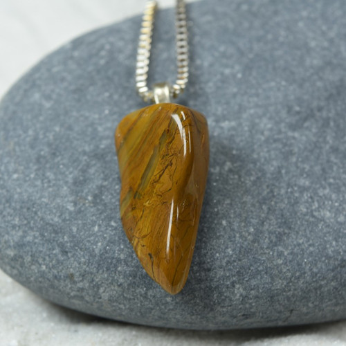Custom Tumbled Yellow Japser Stone Necklace on a Sterling Silver Box Chain