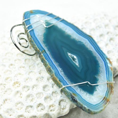 Wire Wrapped Aqua Agate Slice Ornament