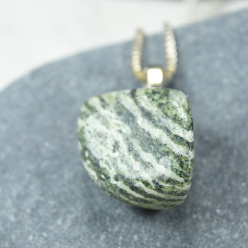 Green Zebra Jasper Stone Necklace