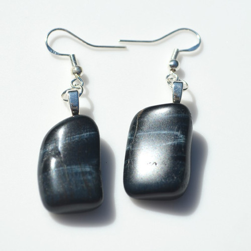 Blue Tiger's Eye Stone Earrings