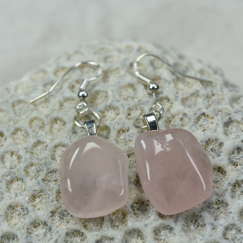 Custom Tumbled Rose Quartz Stone Dangling Earrings - 1 Set