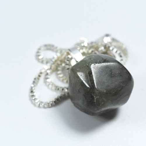Custom Tumbled Labradorite Stone Necklace - Choose Sterling Silver Chain or Leather Cord - Quantity of 1