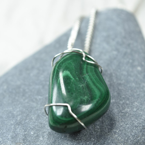 Custom Tumbled Malachite Stone Wire Wrapped Necklace - Choose Sterling Silver Chain or Leather Cord - Quantity of 1