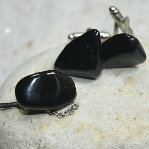 Tumbled Apache Tears Stone Cufflinks and Tie Tack Set