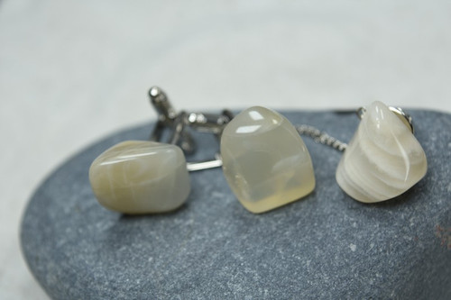 Tumbled Moonstone Cufflinks and Tie Tack Set