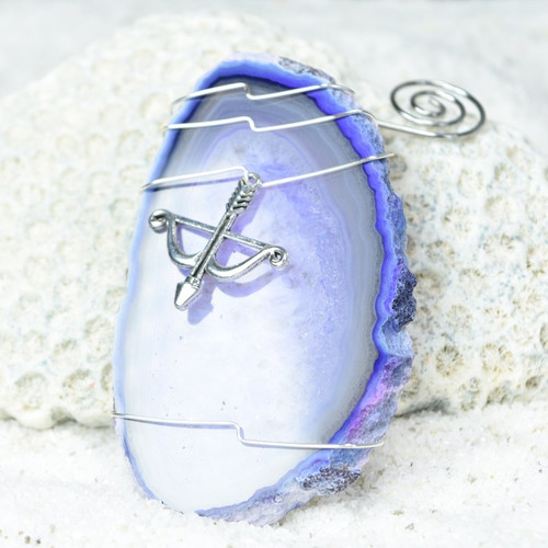 Custom Handmade Agate Slice Ornament with Silver Bow and Arrow Charm - Choose Your Agate Slice Color