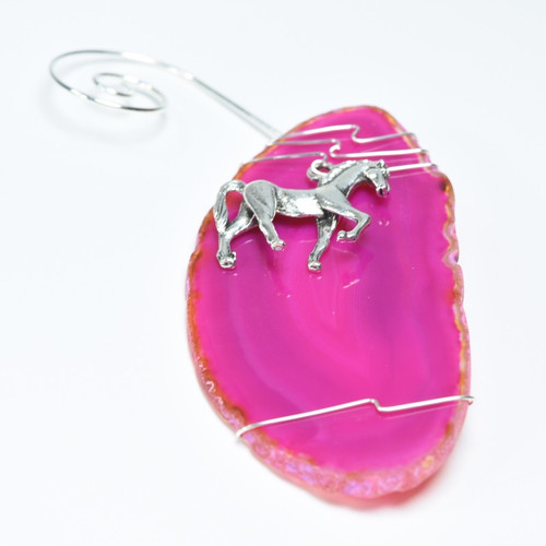 Custom Handmade Agate Slice Ornament with Silver Horse Charm - Choose Your Agate Slice Color
