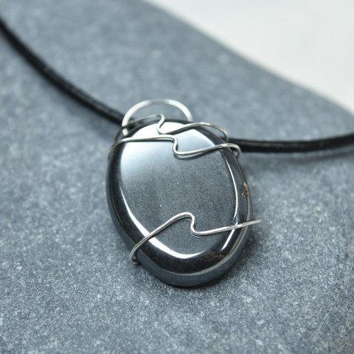 Wire Wrapped Hematite Palm Stone Necklace
