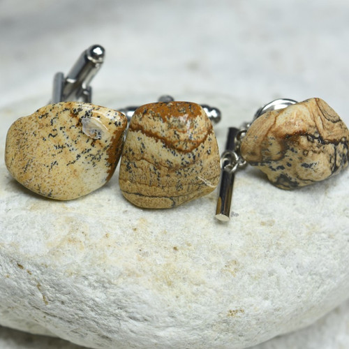 Tumbled Picture Jasper Stone Cufflinks and Tie Tack Set