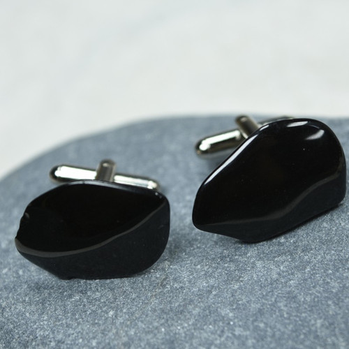 Black Tourmaline Stone Cufflinks