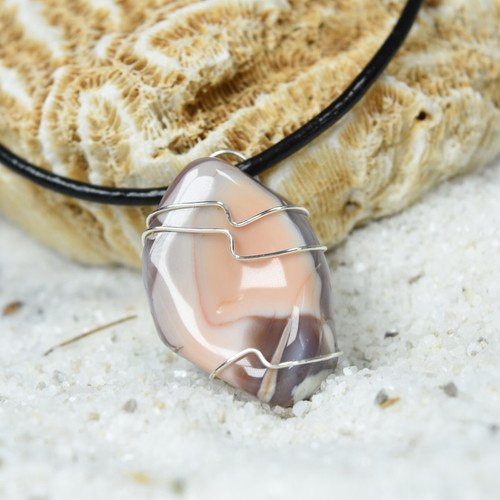 Custom Tumbled Crazy Lace Agate Stone Wire Wrapped Necklace - Choose Sterling Silver Chain or Leather Cord - Quantity of 1