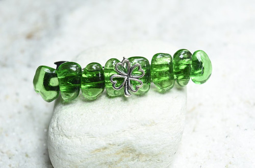 Irish Shamrock Green Obsidian French Barrette Hair Clip - 60 mm -