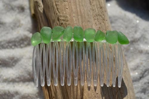 Single Genuine Surf-Tumbled Small Green Sea Glass Hair Comb