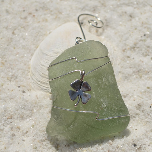 Custom Surf Tumbled Sea Glass Ornament with a Shamrock Charm - Choose Your Color Sea Glass Frosted, Olive Green, and Brown.