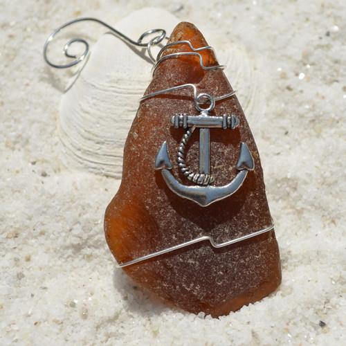 Anchor Sea Glass Ornament