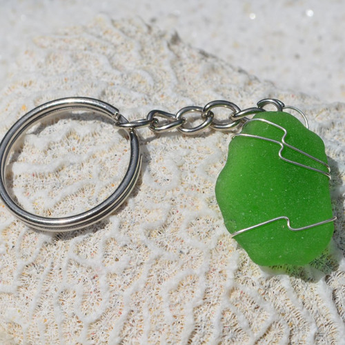 Wire Wrapped Green Sea Glass Keychain