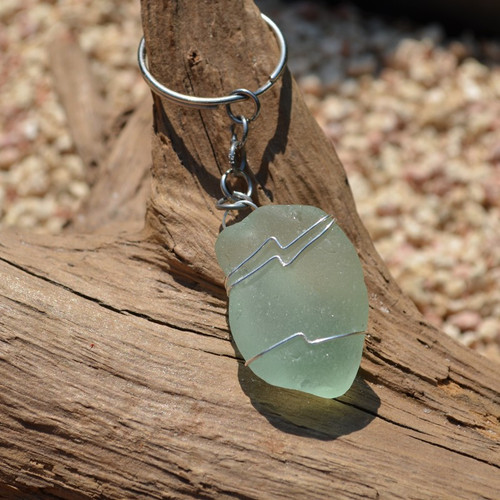 Custom Surf Tumbled Frosted Sea Foam Sea Glass Wire Wrapped Keychain
