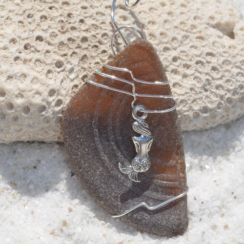 Custom Surf Tumbled Sea Glass Ornament with a Mermaid Charm - Choose Your Color Sea Glass Frosted, Olive Green, and Brown.-1