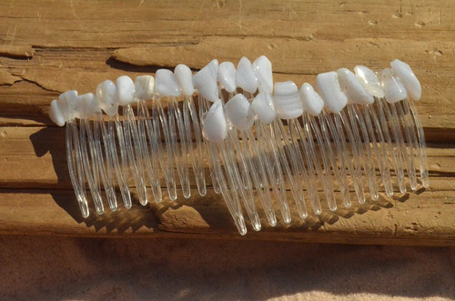 Blue Lace Agate Stone Hair Combs (Quantity of 2)