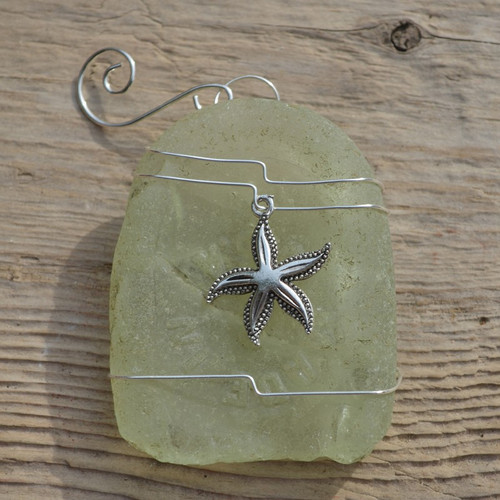 Starfish Charm on a Custom Surf Tumbled Sea Glass Ornament - Choose Your Color Sea Glass Frosted, Olive Green, and Brown.