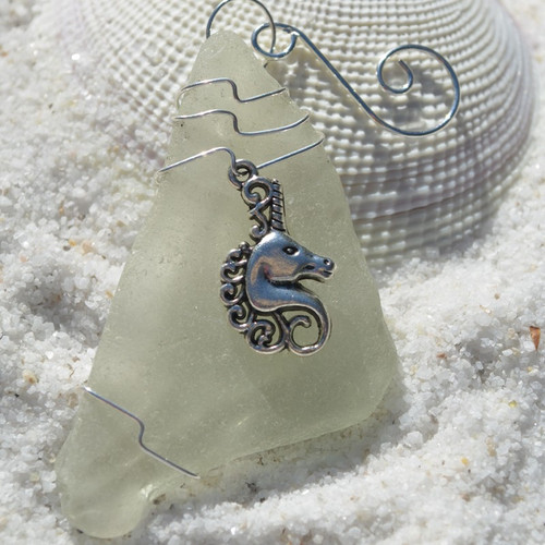Unicorn Charm on a Custom Surf Tumbled Sea Glass Ornament - Choose Your Color Sea Glass Frosted, Olive Green, and Brown.