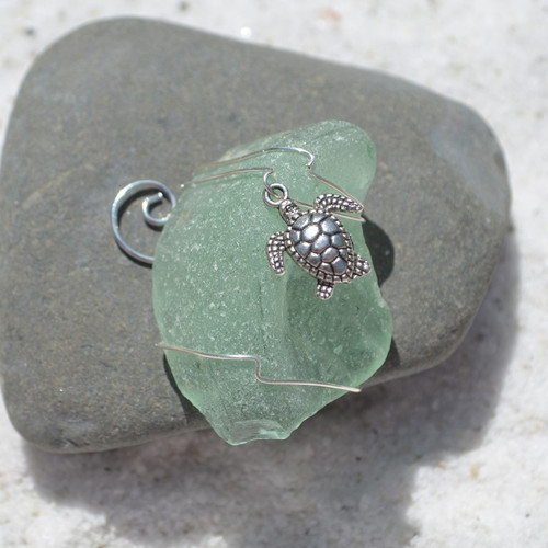 Sea Turtle Charm on a Custom Surf Tumbled Sea Glass Ornament - Choose Your Color Sea Glass Frosted, Olive Green, and Brown.