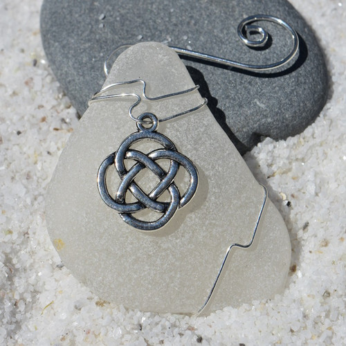 Celtic Knot Charm on a Custom Surf Tumbled Sea Glass Ornament - Choose Your Color Sea Glass Frosted, Olive Green, and Brown.