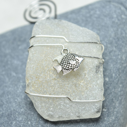 Fish Charm on a Custom Surf Tumbled Sea Glass Ornament - Choose Your Color Sea Glass Frosted, Olive Green, and Brown.