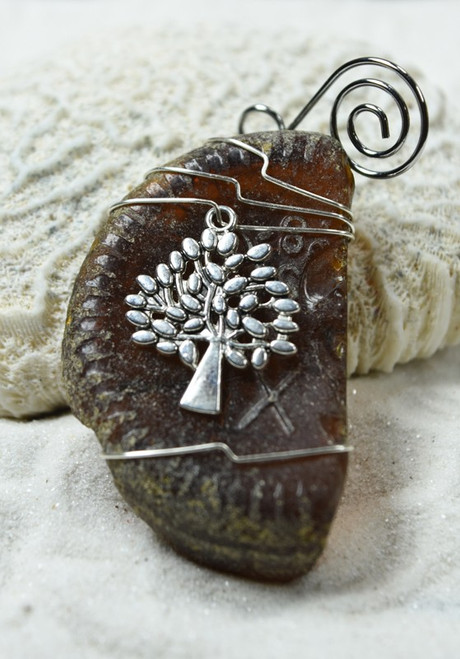 Tree of Life Charm on a Surf Tumbled Sea Glass Ornament - Choose Your Color Sea Glass Frosted, Green, and Brown - Made to Order