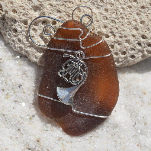 French Horn Charm on a Custom Surf Tumbled Sea Glass Ornament - Choose Your Color Sea Glass Frosted, Olive Green, and Brown.