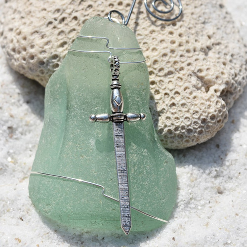 Sword Charm on a Custom Surf Tumbled Sea Glass Ornament - Choose Your Color Sea Glass Frosted, Olive Green, and Brown.