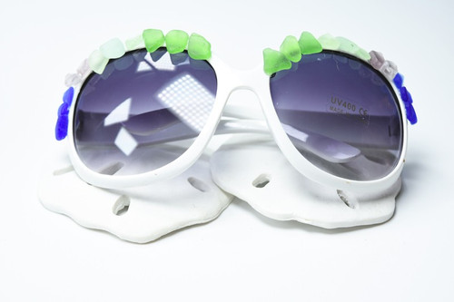 Large Over Sized Sunglasses Decorated with Rainbow Colored Surf Tumbled Sea Glass