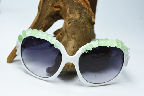 Large Over Sized Sunglasses Decorated with Surf Tumbled Aqua Sea Glass