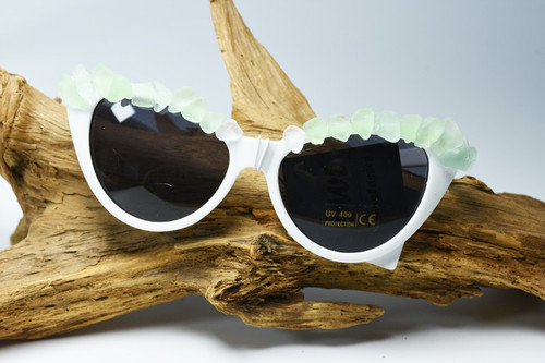 Aqua and Sea Foam Sea Glass White Cat's Eye Sunglasses