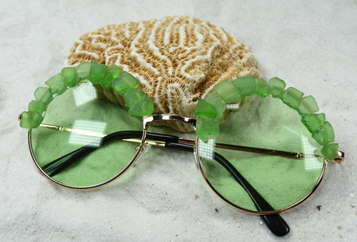 Handcrafted Couture Green Sea Glass Sunglasses