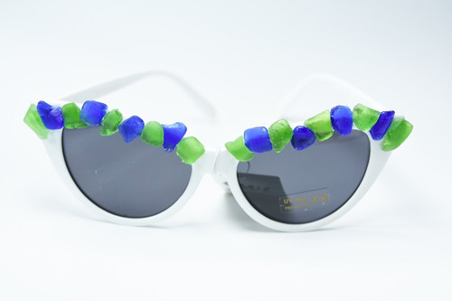 Genuine Blue and Green Sea Glass White Cat's Eye Sunglasses