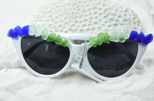 Colorful Surf Tumbled Sea Glass Cat's Eye Sunglasses