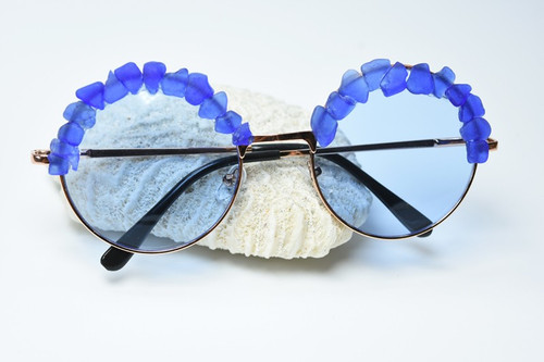 Handcrafted Couture Surf Tumbled Blue Sea Glass Sunglasses